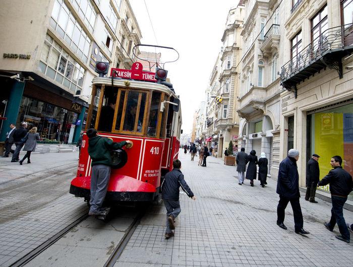 Beyoğlu City Life City Street Istanbul Istiklal Caddesi Large Group Of People Public Transportation Street Taksim Tram Turkey