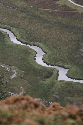High angle view of river flowing through land