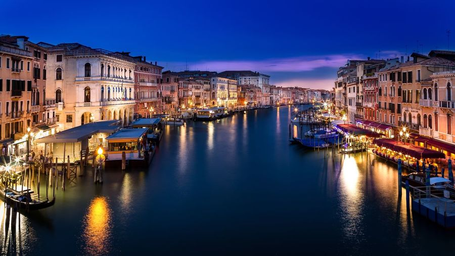 Architecture Building Exterior Illuminated Night Canal Reflection Nautical Vessel Water Travel Destinations Venice Blue Hour Fine Art Photography Cityscape Waterfront Outdoors Vacations Moored Sky Gondola - Traditional Boat No People Clear Sky City
