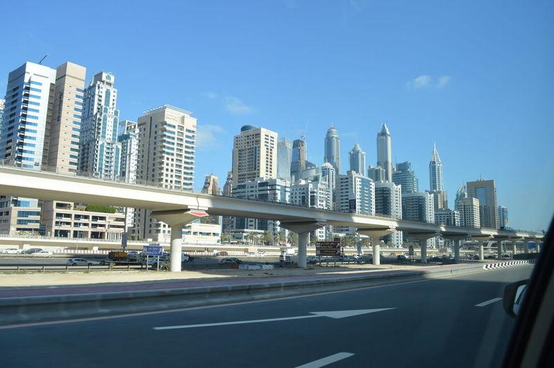 City skyline against blue sky