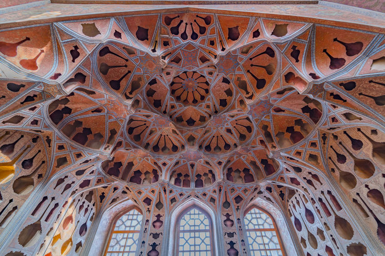 Low angle view of ceiling of historical building