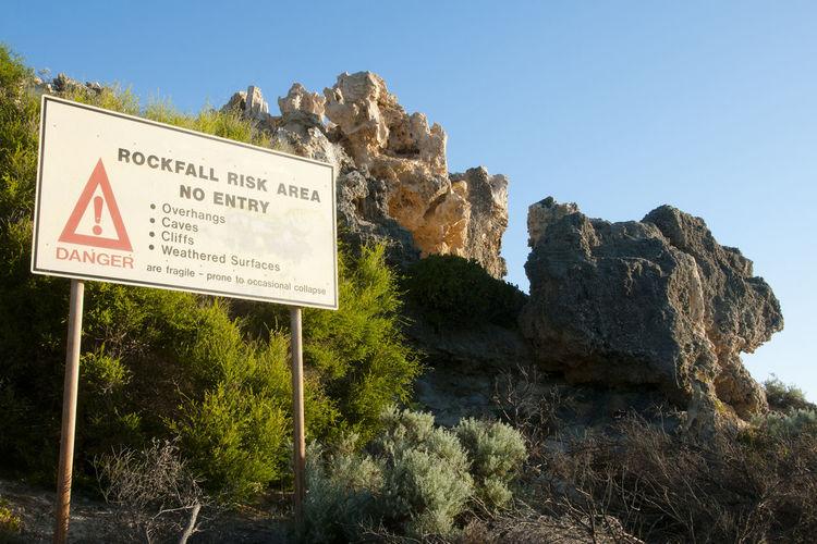 Rockfall Risk Area Australia Perth Risk Area Cliff Hazard Rock - Object Rockfall