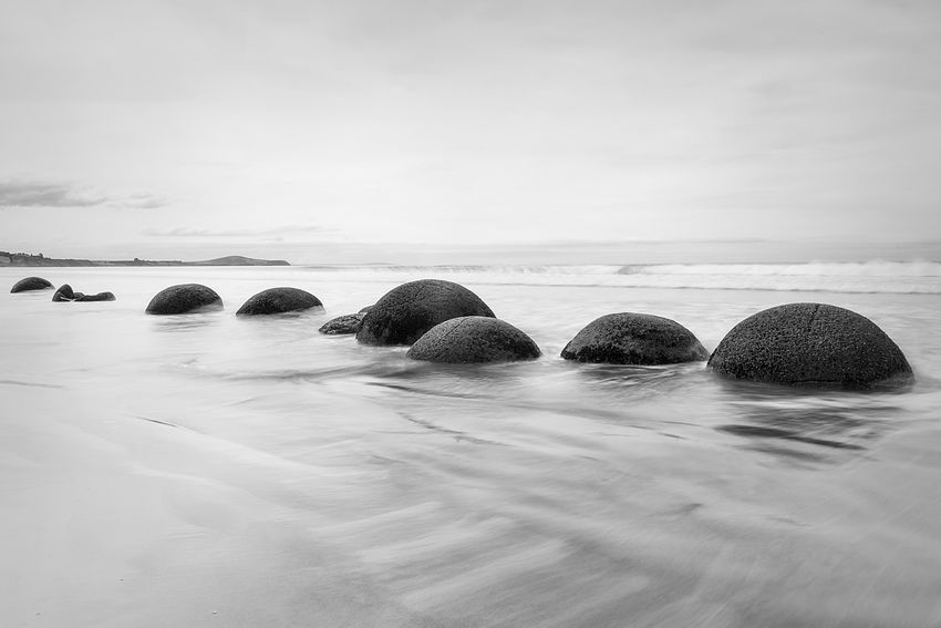 Beauty In Nature Blackandwhite Boulders Day Landscape Long Exposure Motion Blur Nature No People Outdoors Rocks Sea Water