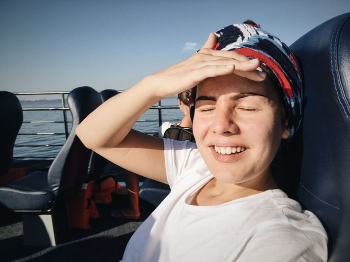 Young Woman Smiling On Ferry