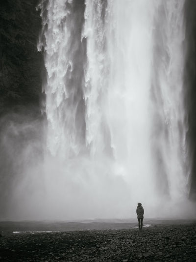 Beauty In Nature Day Iceland Isolated Men Monochrome Nature One Man Only One Person Only Men Outdoors People Power In Nature Powerful Skogafoss Sky Solo Standing Water Waterfall Woman