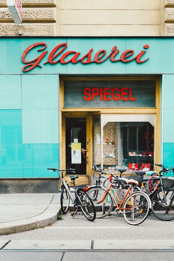 Austria Neubau Vienna Architecture Bicycle Building Exterior Built Structure City Europe Glaserei Midcentury No People Outdoors Shopfront Store Text Transportation Travel Destinations Wien