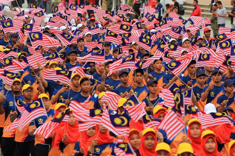 Crowd with malaysian flag