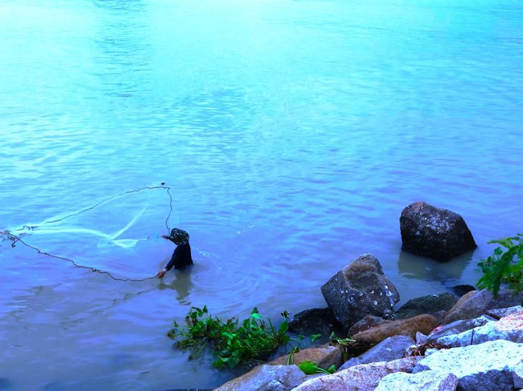 Fisherman Fishermanslife Water Sea High Angle View Beauty In Nature Nature No People Day Scenics - Nature Tranquility Outdoors Idyllic Turquoise Colored