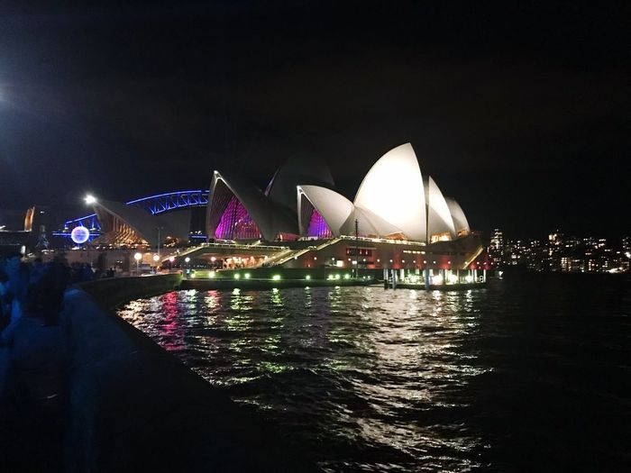 Opera house Night Water Illuminated City Architecture Arts Culture And Entertainment Travel Destinations Building Exterior Cityscape Nightlife