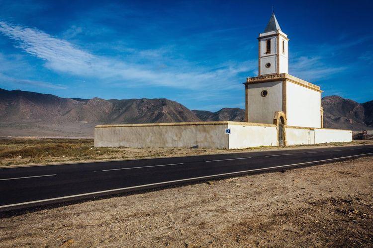 Las Salinas Church in Cabo De Gata Las Salinas Church Road Travel Beach Architecture Old Buildings Almería SPAIN Tower Exploring Getting Inspired