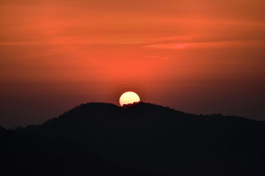 Sunset Silhouette Beauty In Nature Moon Tranquility Scenics Night Nature No People Tranquil Scene Sky Astronomy Outdoors