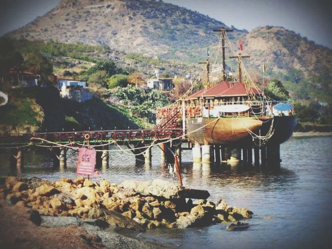 Ship Restaurant Boat Architecture Built Structure Building Exterior Mountain Water No People Outdoors Travel Destinations Day Nature Beauty In Nature Sky Aspava Restaurant Fish Restaurant On Water Sea Sea And Sky Mediterranean  Lefka Cyprus Lefka, Cyprus EyeEmNewHere