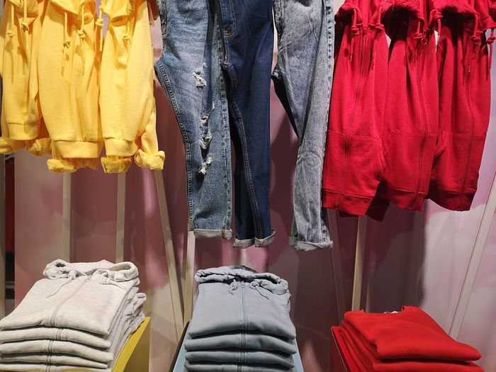Panoramic view of clothes hanging in store