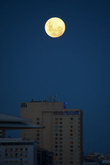 Architecture Building Building Exterior City Full Moon Geometric Shape Moon Moonlight Night Sky