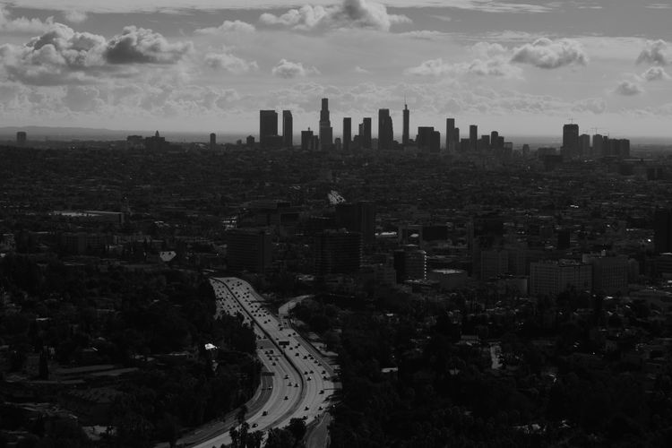 A Cloudy Day in Los Angeles Architecture Built Structure California Los Angeles, California Southern California Copy Space Landscape Black And White Monochrome Travel Cloud Skyscraper City Life Street High Angle View Transportation City Cityscape Building Exterior Road Infrastructure Urban Skyline Urban High Rise Downtown District Financial District  Urban Scene Tower Skyline Downtown
