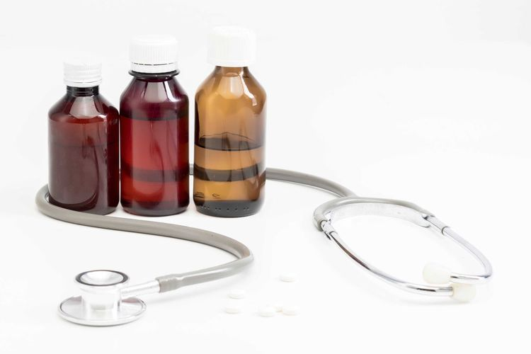 Bottle of medicine Healthcare And Medicine Container Bottle Studio Shot Medical Equipment Indoors  White Background Medicine Glass - Material Still Life Medical Supplies No People Transparent Close-up Medical Instrument Stethoscope  Table Pill Science Choice