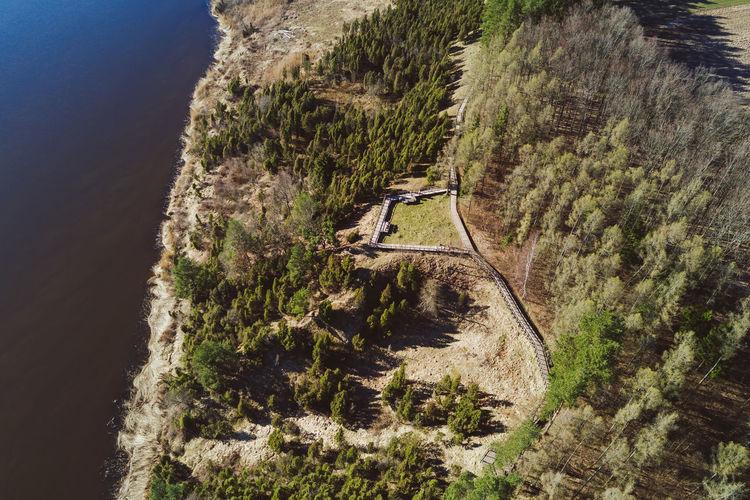 Aerial view of  kaunas lagoon regional park