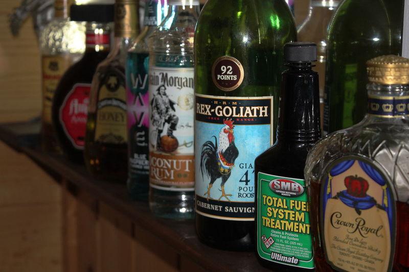 Alchohol Selection Alcohol Bottles Arrangement Crown Royal In A Row Top Shelf Select Variation Wrong Bottl