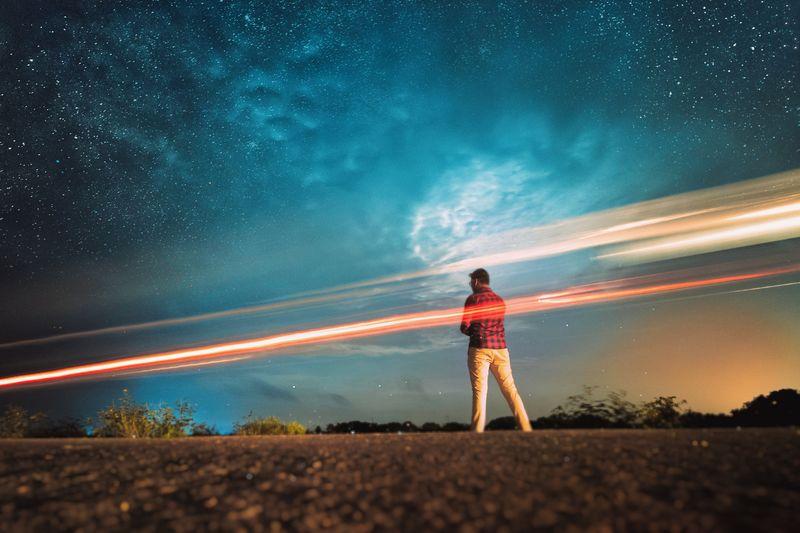Long exposure photo star trails