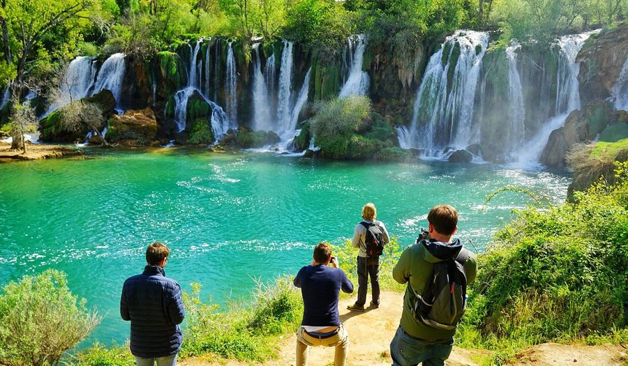 Tourists scenics rock - object water waterfall adventure beauty in Nature Nature people landscape Vacations Standing day river travel destinations togetherness outdoors women Adult Adults Only men Bosnia People River Water Nature Men Landscape Women Day Waterfall Standing Outdoors Vacations Adventure Togetherness Scenics Adult Beauty In Nature Adults Only Travel Destinations Rock - Object