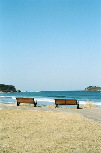 Hwajinpo Beach Benches Bench Sea View Hi! Hello World Taking Photos Sea And Sky 35mm Film 35mm Camera Film Photography Filmcamera Lucky Super 200 NIKON FE2