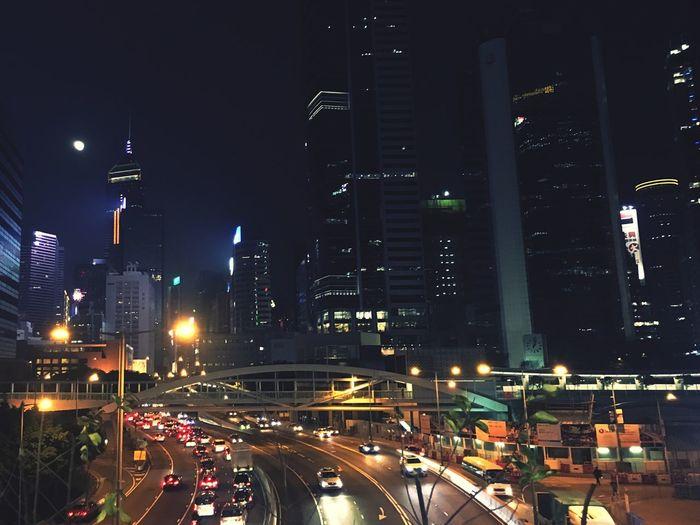 月色香港 Illuminated Night City City Life High Angle View Architecture Transportation First Eyeem Photo