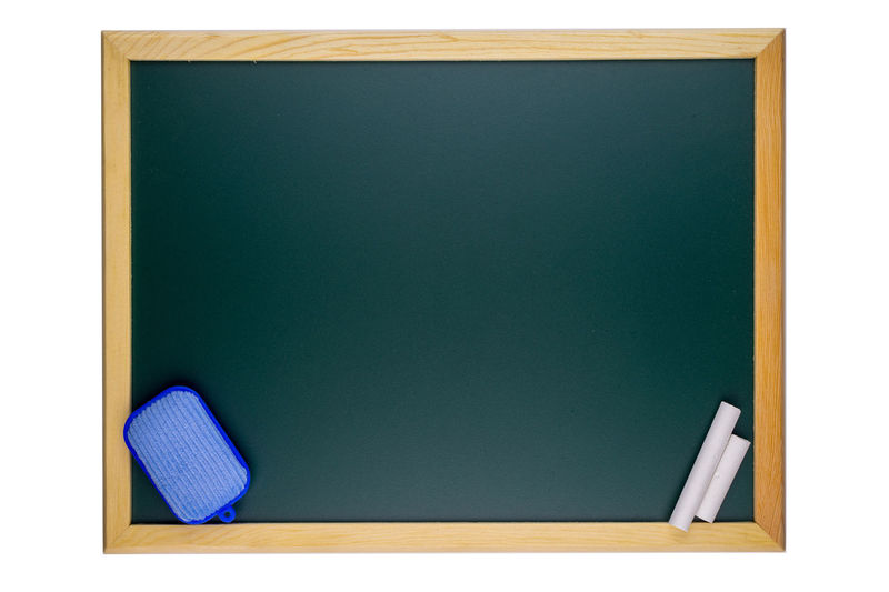 Green chalkboard on white background Chalk Chalkboard Close-up Dusters Geometric Shape Green Model - Object Rectangle Studio Shot Top View Vibrant Color White
