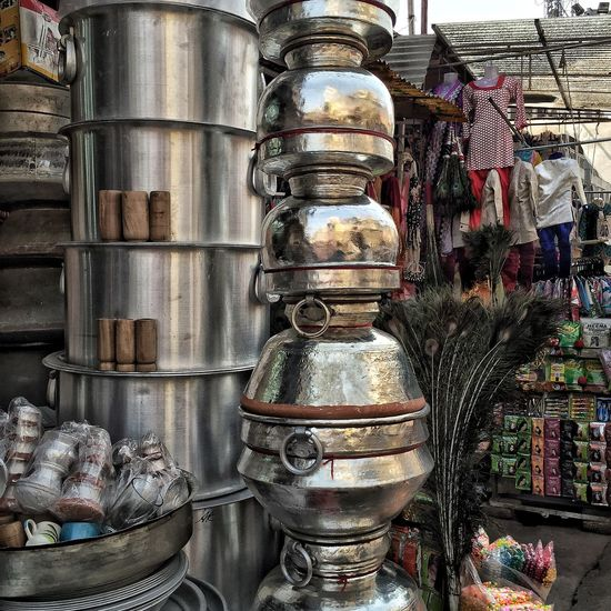 Travel Hyderabad India Hyderabad,India Pots And Pans Merchant Stall Street Shop Shopping For Pots