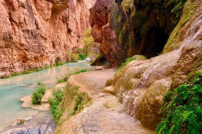 Textures And Surfaces Rock Formation Stream Grand Canyon Scenic Landscape Waterfall River Water Rocks Rock - Object Nature Beauty In Nature Rock Formation River Scenics Landscape Water Tranquility Non-urban Scene Stream - Flowing Water Curve Mountain Outdoor Pursuit Tranquil Scene Travel Destinations Hiking No People Outdoors Physical Geography