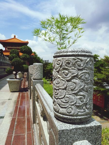 Cloud - Sky Day Tree Bamboo No People Outdoors Sky Walkway Place Of Worship Temple Engraved Stones