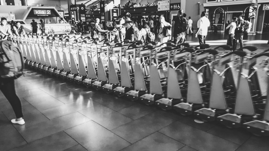 Luggage Trolleys... EyeEmNewHere Let's Go. Together. Black And White Black And White Photography EyeEm Selects Sommergefühle Airport Departures Luggage Trolleys Cart