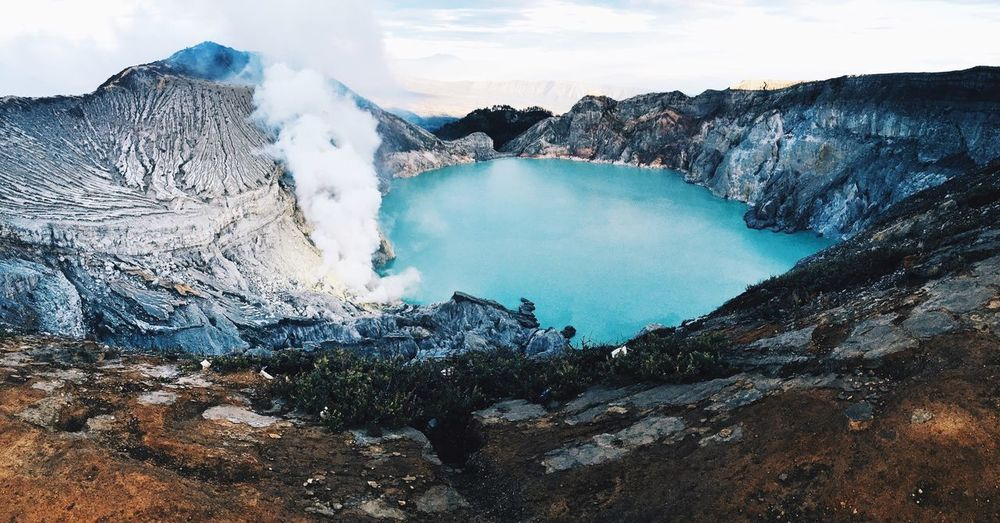 Kawah Ijen, West Java Photography Lake Sulphur Nature Beauty In Nature Mountain Scenics Physical Geography Lake Volcanic Crater Outdoors Landscape Water Tranquility Day Sky No People Tranquil Scene Steam Press For Progress Colour Your Horizn EyeEmNewHere