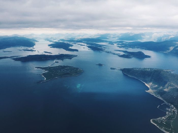 Aerial view of a nordic coast and islands, horizon
