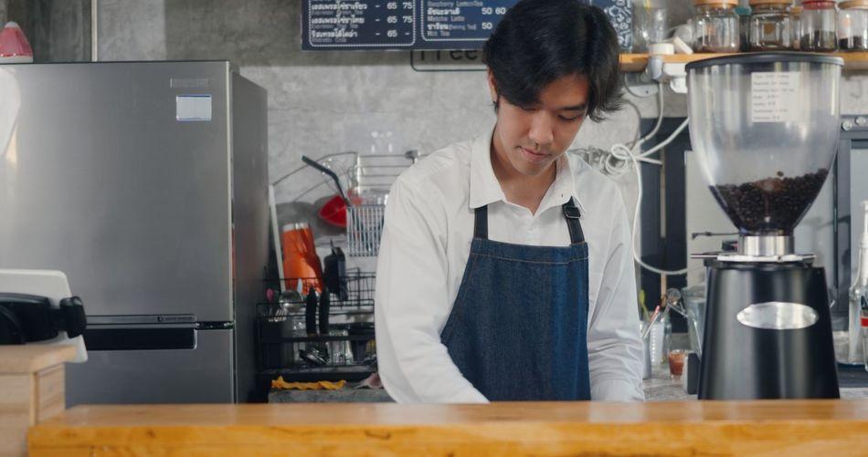 Man working at restaurant