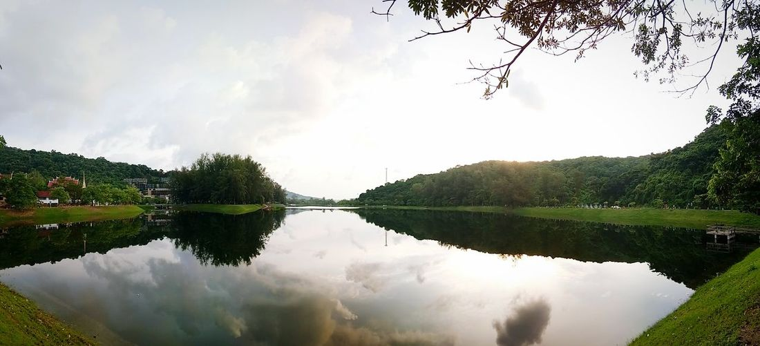 Nice Huh? Reflection Lake Water Nature Tranquility Beauty In Nature Tree Scenics Sky Cloud - Sky Symmetry Outdoors Summer Landscape No People Day Mountain NaiHarn Phuket Thailand Extendedholidaze Sunrise First Eyeem Photo