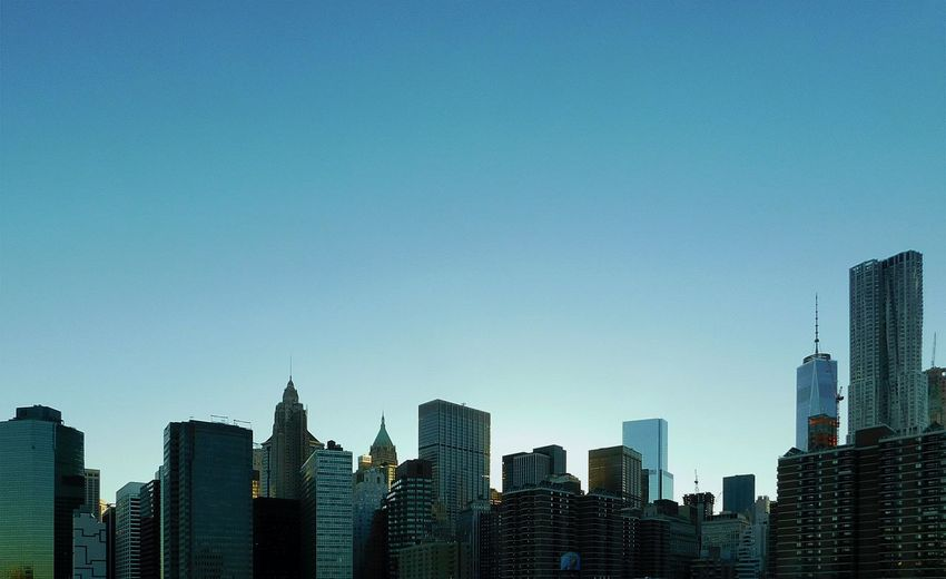 Blue. Architecture Building Exterior Built Structure City City Life Cityscape Clear Sky Day Downtown District Manhattan Modern No People Office Park Outdoors Sky Skyscraper Travel Destinations Urban Skyline Finding New Frontiers The Graphic City Colour Your Horizn