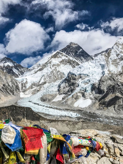 Everest Base Camp Trek - view of Mount Everest and Nuptse from Kala Patthar Himalayas Cloud - Sky Everest Flags In The Wind  Mountain Mountain Peak No People Sky Snowcapped Mountain