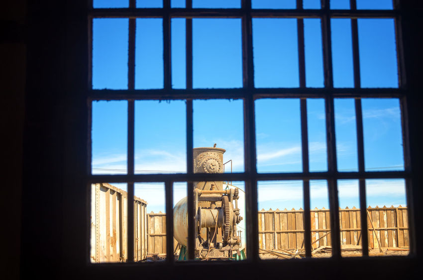 View through a window in Humberstone, Chile America Architecture Atacama Building Chile Derelict Desert Heritage Historic Houses Humberstone Industrial Industry Iquique Landscape Museum Nitrate Old Ruins Saltpeter Saltpetre South Town UNESCO World Heritage Site Work