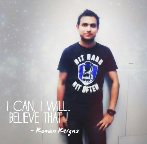 I can i will... Believe that T-shirt Casual Clothing Young Adult White Background Symbol Youth Culture Standing Studio Shot Front View RomanReigns