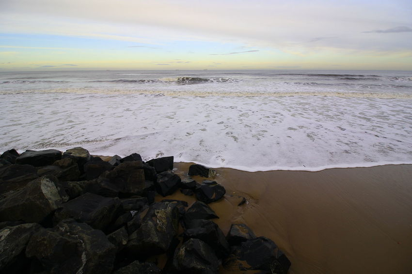 OUT AND ABOUT IN HARTLEPOOL Sea Rock Sky Beach Solid Rock - Object Beauty In Nature Scenics - Nature Land Water Horizon Over Water Horizon Nature Cloud - Sky Tranquil Scene Tranquility Motion Wave No People Outdoors Rocky Coastline