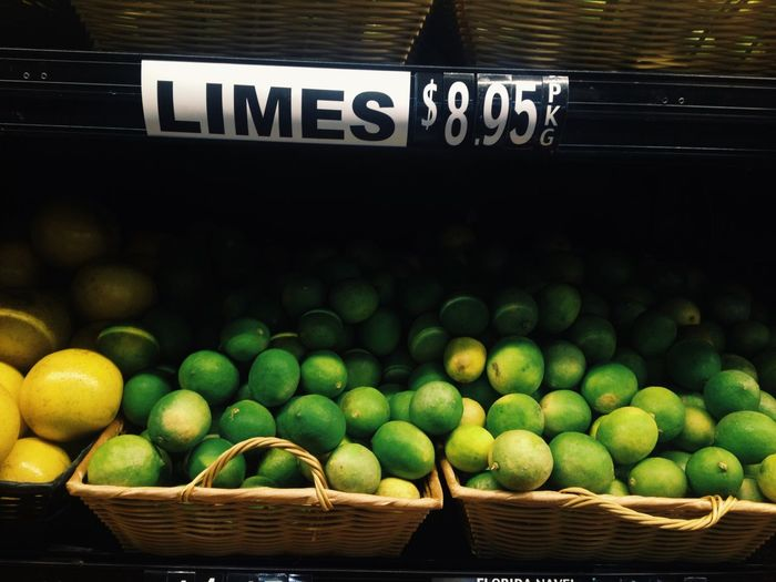 Close-up of limes for sale
