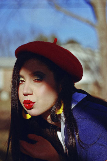 Snow White, 2018 Portrait Headshot Young Adult Lifestyles One Person Leisure Activity Real People Focus On Foreground Young Women Lipstick Front View Hat Beautiful Woman Make-up Beauty Women Looking Away Red Lipstick Adult Hairstyle Hair Outdoors Human Face Snow White Beret The Portraitist - 2019 EyeEm Awards