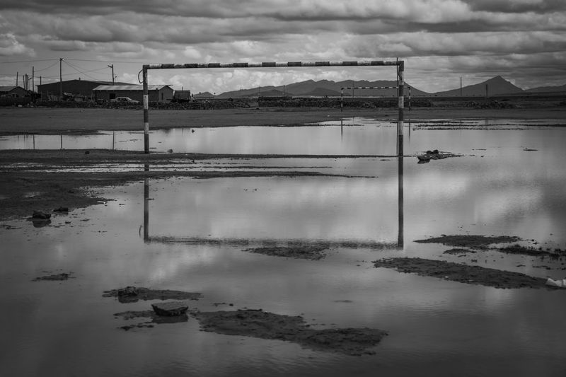 Black And White Flooded Fields Soccer Field Sport Goal Post Water Cloud - Sky Sky Reflection Nature Day No People Tranquility Lake Tranquil Scene Outdoors Built Structure