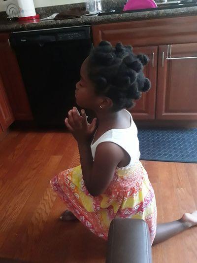 Prayer Changes Things Natural Hair ♡  barefoot Kneeling Girl Childhood Girls Hardwood Floor Ballet Dancer Grace