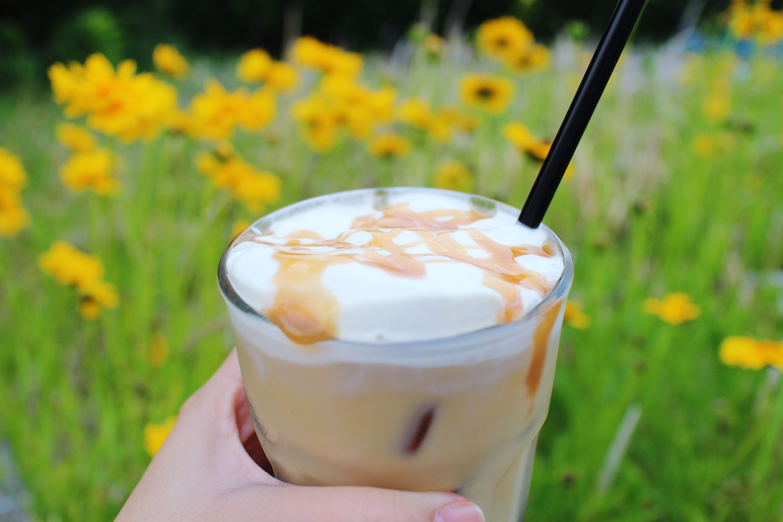 human hand, human body part, drink, sweet food, food and drink, one person, holding, refreshment, close-up, real people, disposable cup, ice cream, freshness, day, iced coffee, drinking straw, frozen food, outdoors, temptation, dessert, grass