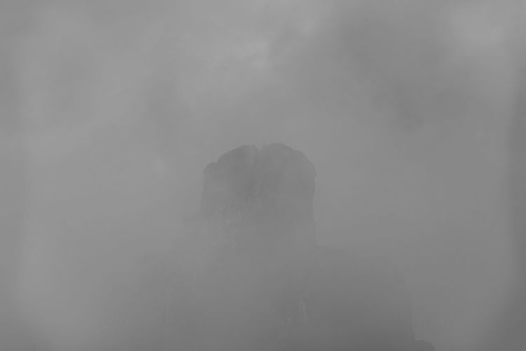 Portrait of silhouette person standing in foggy weather
