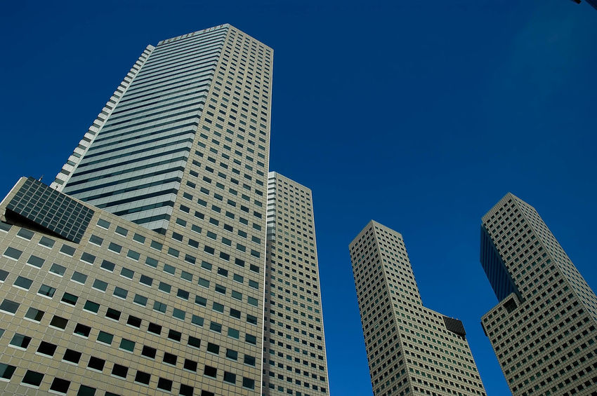 Blue Sky Skyscrapers Business Tall Buildings Cityscapes