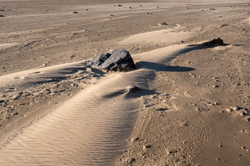Unusual shapes on sand beach