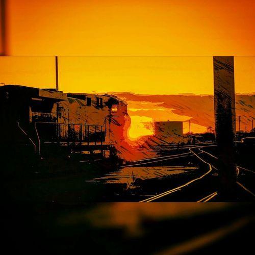 Railroad Sunset Nebraska Railyard