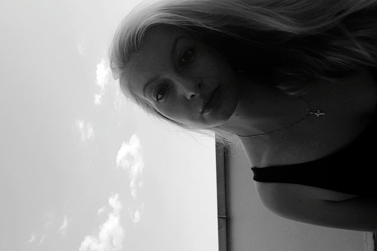 Blackandwhite Portrait Blond Hair Sky Sunshine Turned Over Balconyshots